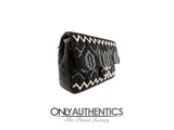 Chanel Black Jersey Embroidered Classic Flap
