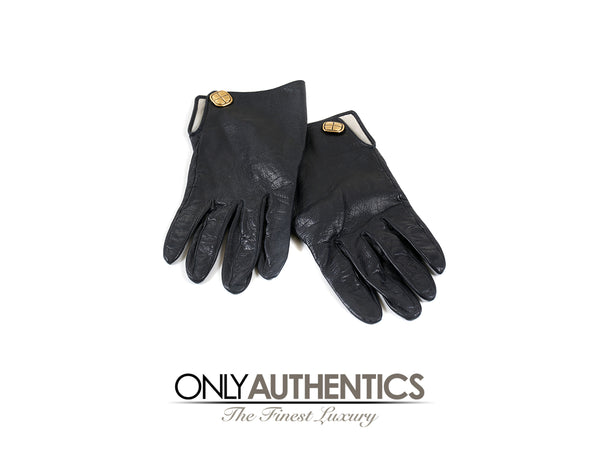 Chanel Black Leather Gloves size 7