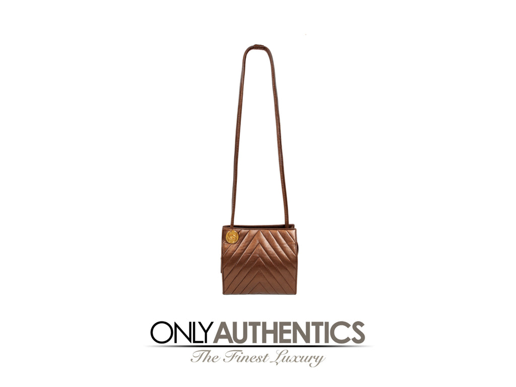 Chanel Bronze Leather Chevron Shoulder Bag