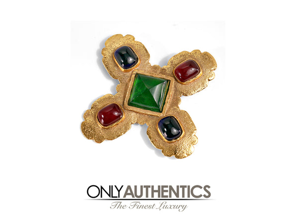 Chanel Gold Gripoix Maltese Cross Brooch Pin