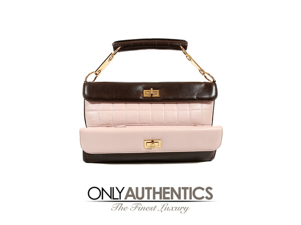 Chanel Pink and Brown Leather Clutch with Handle