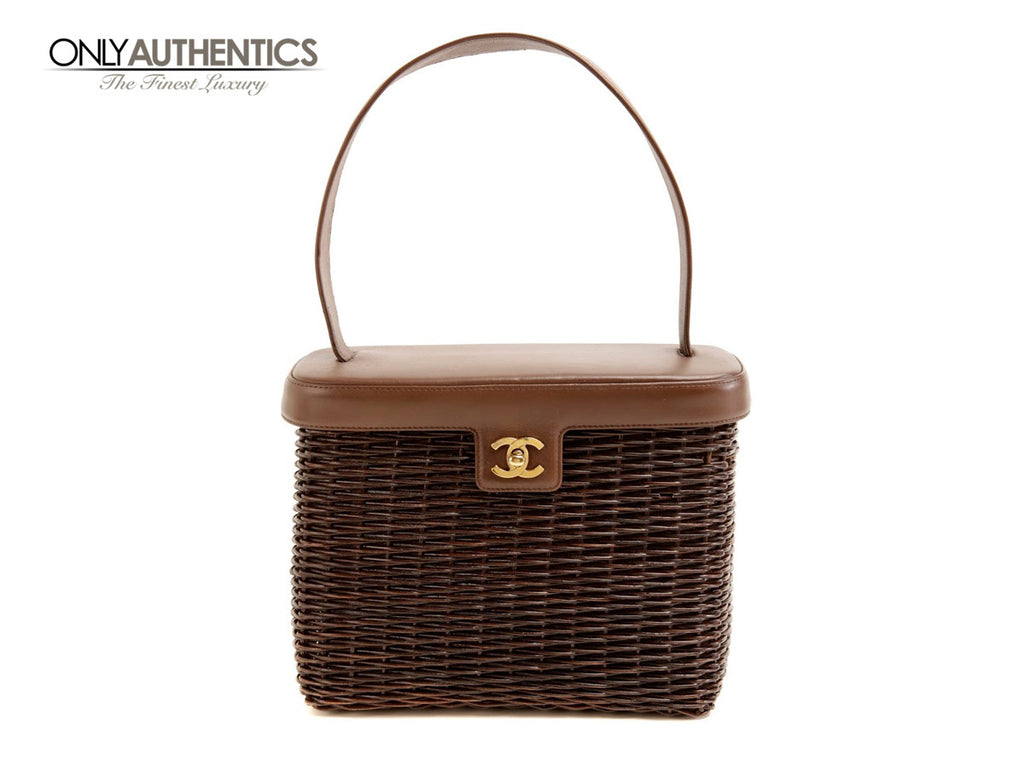 Chanel Brown Wicker Picnic Bag