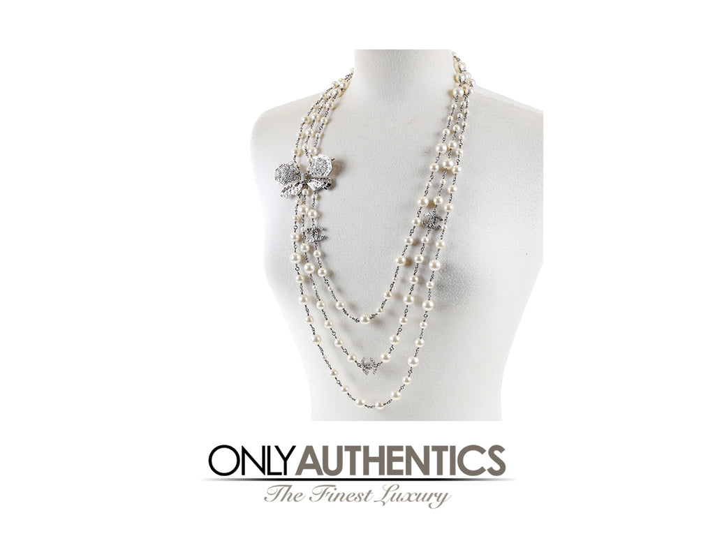 Chanel Crystal Jewel Butterfly Bow Pearl Necklace