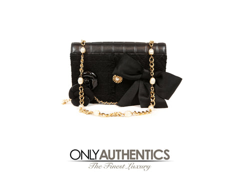 Chanel Black Buttons and Bows Flap Bag