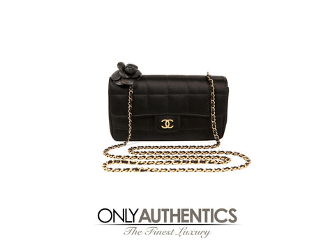 Chanel Black Satin Camellia Cross Body Bag