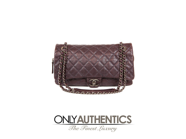 Chanel Purple Glazed Caviar Easy Zip Classic Flap Bag