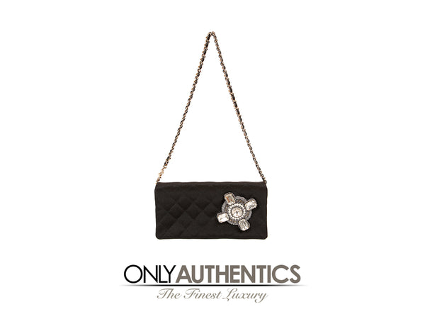 Black Crystal Embellished Evening Bag