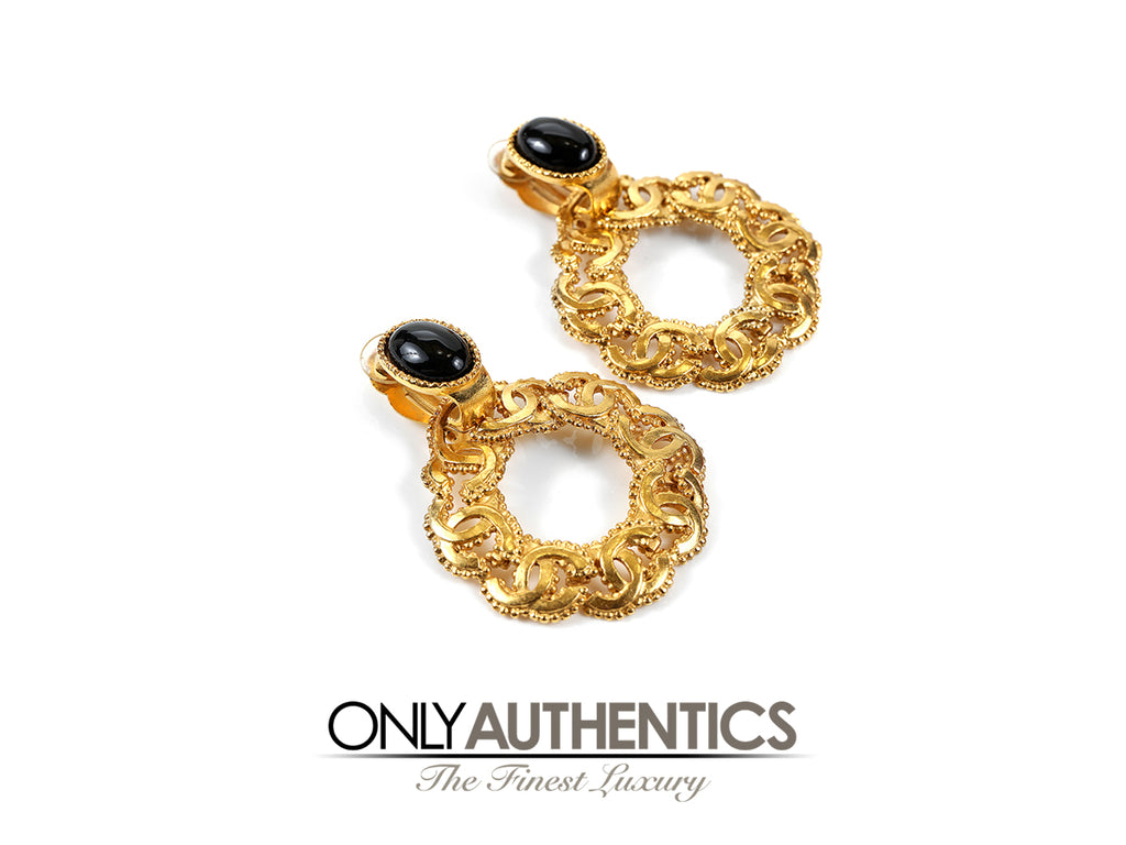 Gold CC Round Hoop Earrings