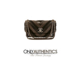 Chanel Espresso Lambskin and Suede Chevron Flap Bag