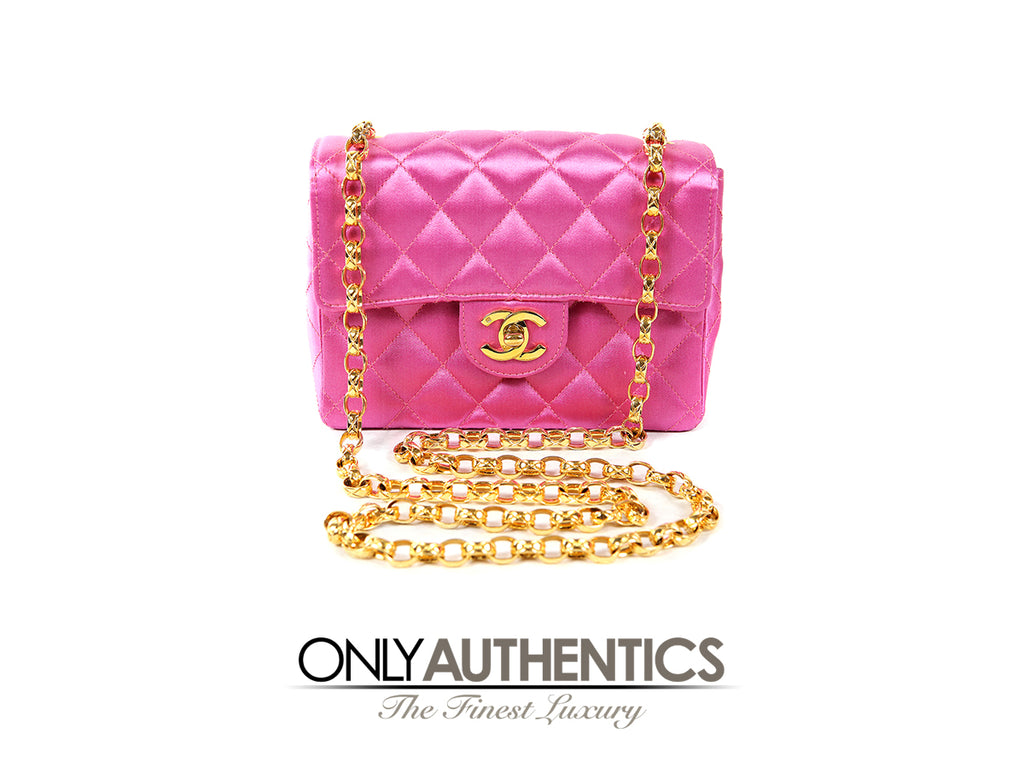 1541f5e34a5e Fuchsia Pink Satin Mini Classic Flap Bag – Only Authentics