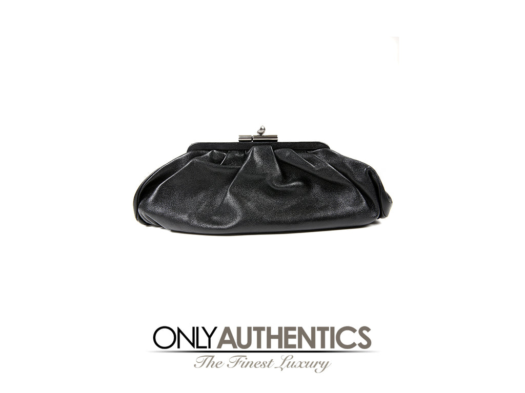 Chanel Black Gathered Lambskin Evening Clutch