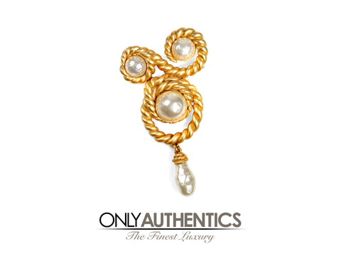 Chanel Pearl and Gold Swirling Rope Pin