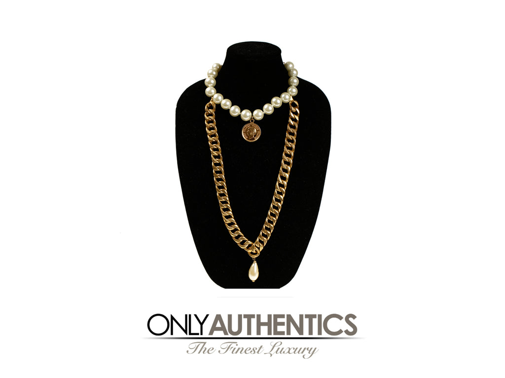 Chanel Pearl Coin and Gold Link Double Necklace