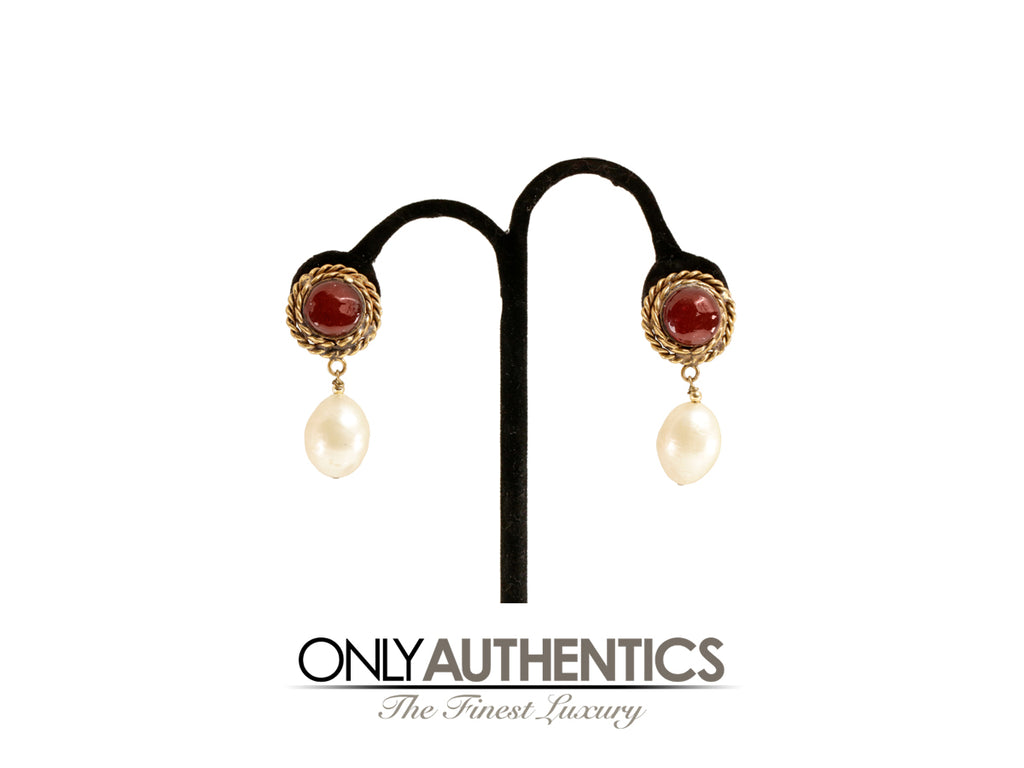 Chanel Red Gripoix  and Pearl Clip On Earrings with Gold Braid Surround
