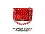 Red Patent Leather Chevron Jumbo Flap Bag