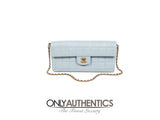 Powder Blue Leather East West Flap bag