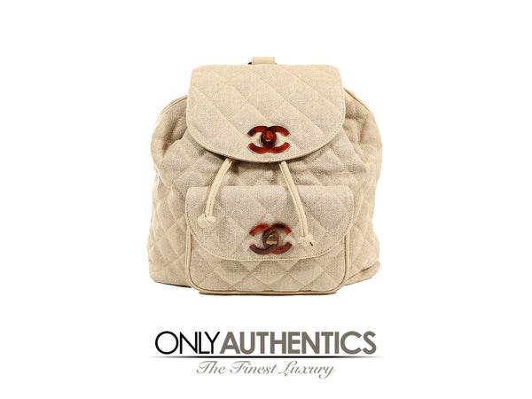 Beige Linen Quilted Backpack