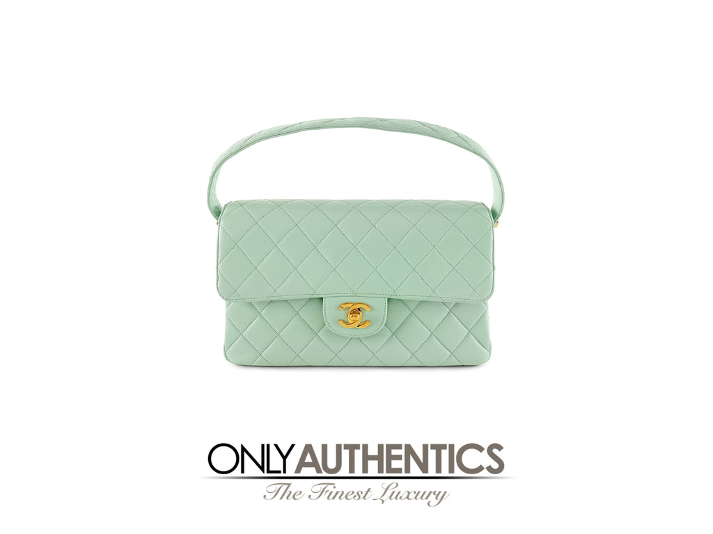 Chanel Mint Leather Double Sided Classic Bag