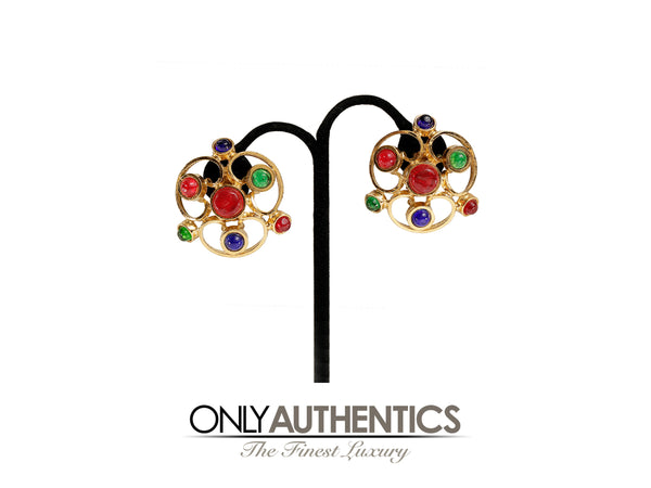 Chanel Red Green Blue Gripoix  Spiral Cutout Large Earrings