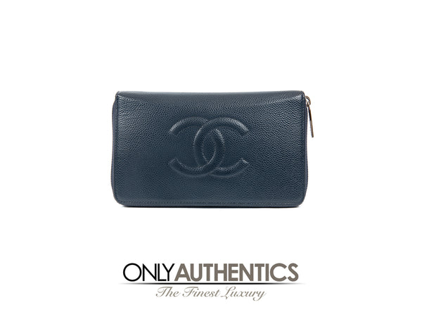 Navy Blue Caviar XL Zip Wallet