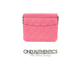 Pink Leather Mini Flap Bag