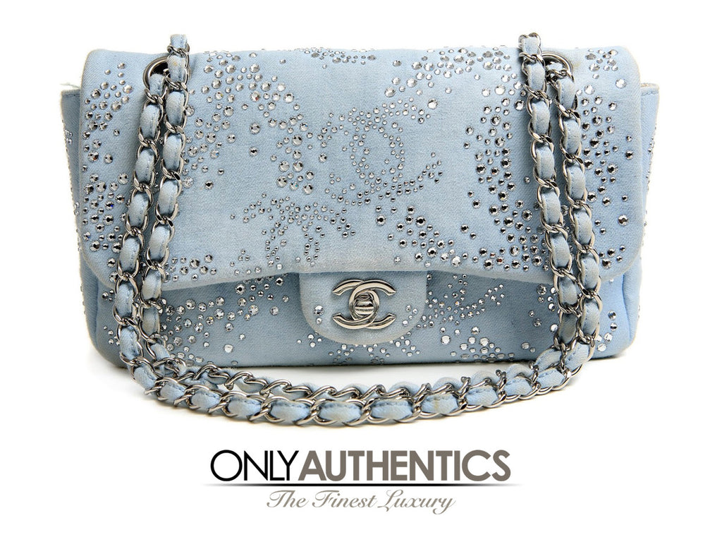 Chanel Powder Blue Swarovski Crystal Classic Flap Bag