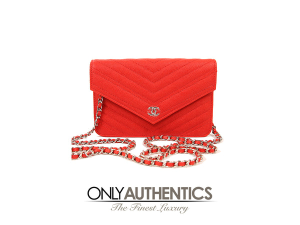 Red Caviar Chevron WOC Wallet on a Chain