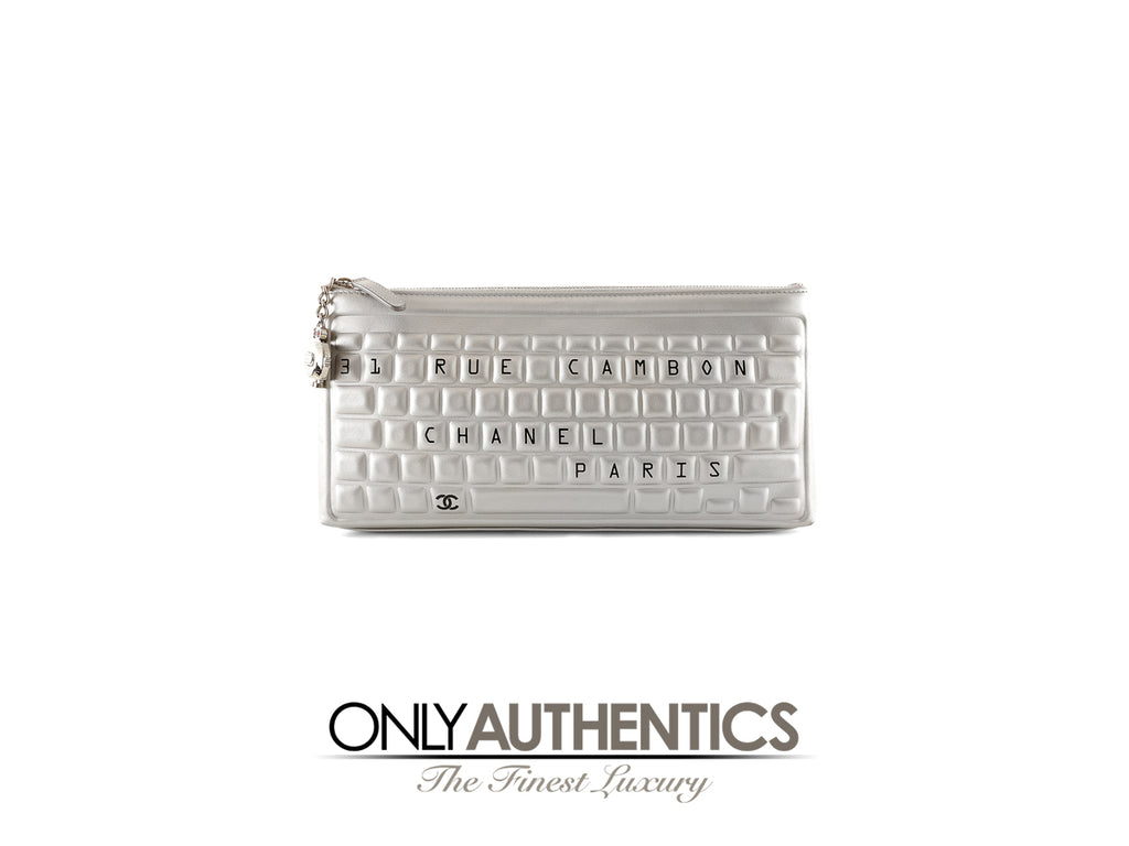 a8162f6c737d73 Chanel Metallic Silver Keyboard Clutch – Only Authentics