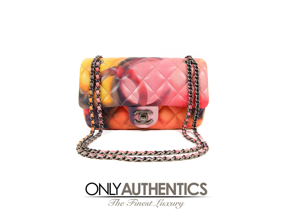 Special Edition Printed Watercolor Mini Flap Classic Bag
