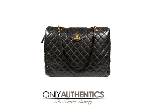Chanel Vintage Black Leather Super Model Weekender