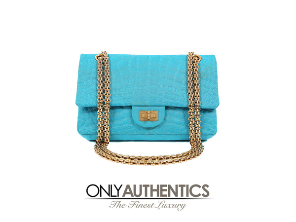 Turquoise Satin 2.55 Medium Reissue Flap Bag