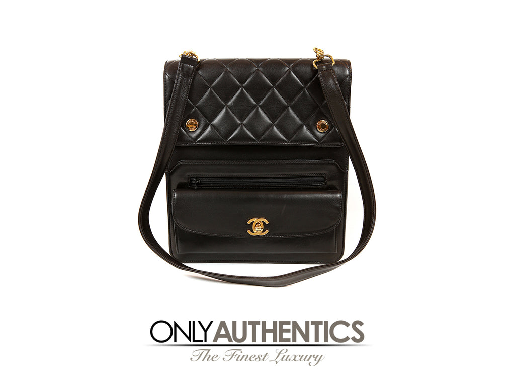 Chanel Vintage Black Leather Compartment Day Bag