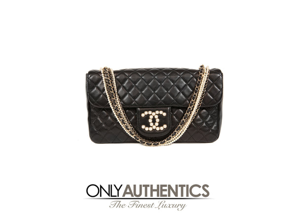 a241cf44bda9 Chanel Black Lambskin Westminster Pearl Flap Bag – Only Authentics