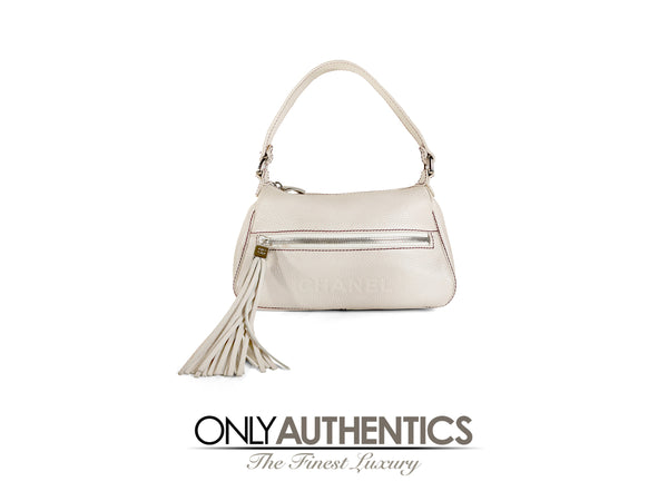 cc6d941006d654 Chanel White Leather Tassel Shoulder Bag