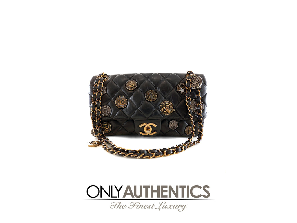 Chanel Black  Calfskin Medallion Flap Bag