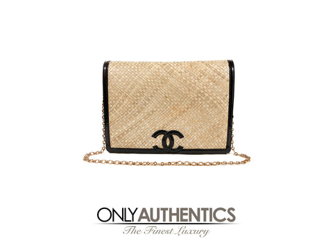 Chanel Amen Wardy Raffia and Black Patent Leather Flap Bag