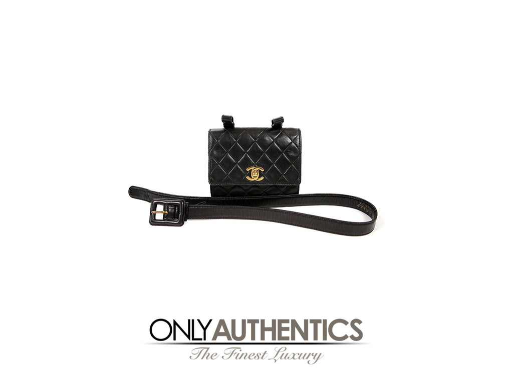 Chanel Black Vintage Lambskin Belt Bag size 75/30