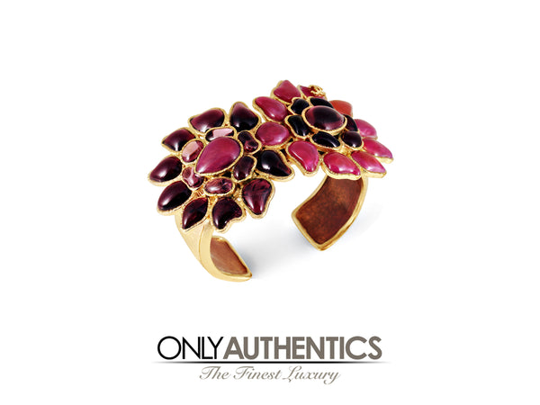 Chanel Pink and Purple Gripoix Double Flower Cuff Bracelet