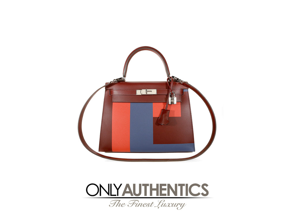 Hermès Bordeaux Blue Orange Resort Runway Colorblock 28 cm Kelly