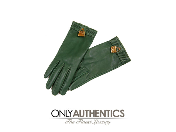 Hermès Green Leather Gloves size 6.5