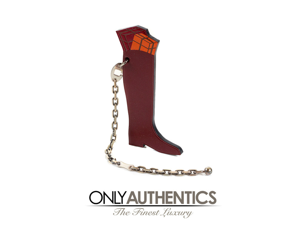 Hermès Hotte Botte Burgundy Leather Boot Key Chain