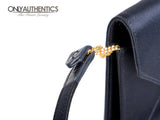Navy Satin Convertible Evening Bag