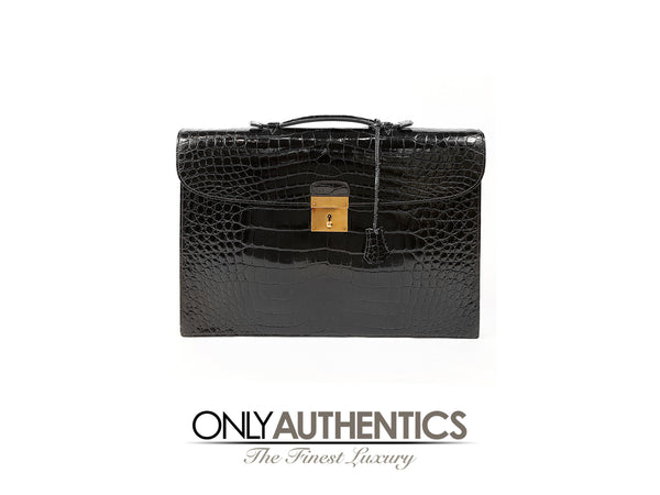 Hermès Black Porosus Crocodile Briefcase GHW