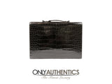 Hermes Black Porosus Crocodile Briefcase GHW