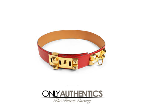 Hermès Red Epsom Leather Medor Belt size 80