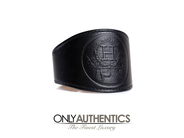 Hermès Black Leather Ex Libris Cuff Bracelet