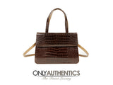 Camel and Brown Croc Double Sided Bag