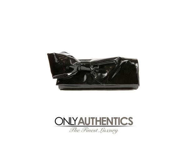 Christian Louboutin Black Patent Leather Bow Clutch