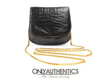 Lana Marks Black Alligator Mini Cross Body Bag