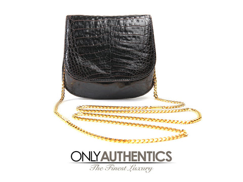 Black Alligator Mini Cross Body Bag